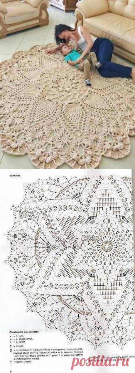 Красивый коврик для дома, связанный крючком — Сделай сам, идеи для творчества - DIY Ideas