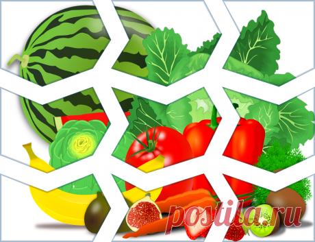 Разрезная картинка пазл Фрукты и овощи