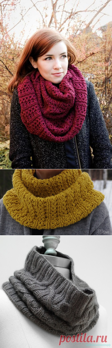 Модные шарфы-СНУДЫ (Snood) спицами 4. Идеи и описания.16 Моделей.