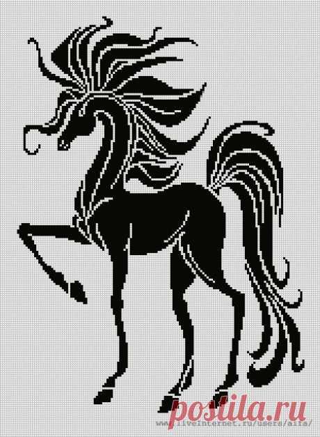 Вышивка крестом, схемы Конь, моно