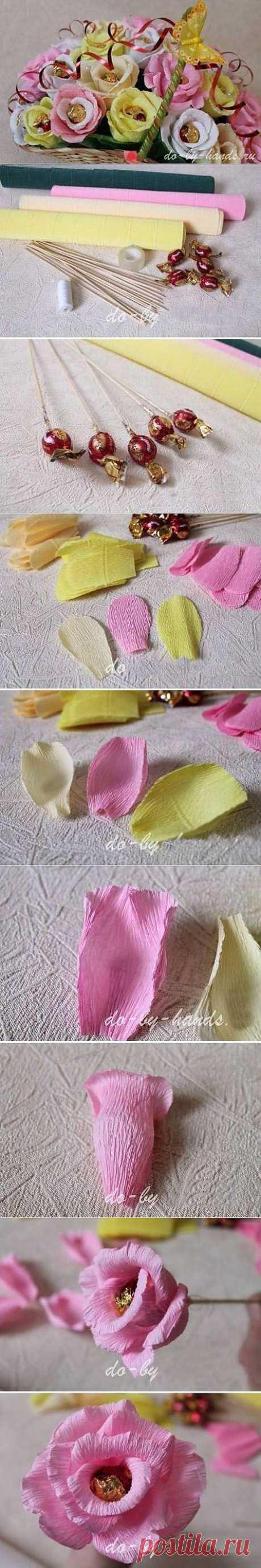 Нежный букет из конфет   СВОИМИ РУКАМИ