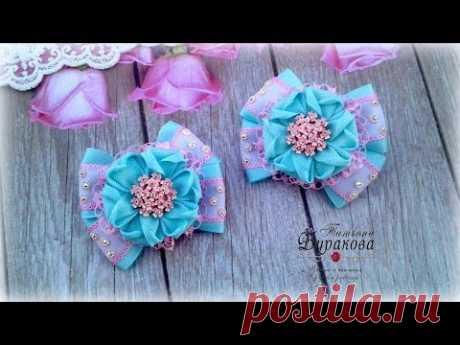 🎀 Бантики из репсовых лент с цветком 🎀 Канзаши 🎀 Ribbon bow Kanzashi 🎀 Hand мade 🎀 DIY Канзаши - бантики, ободки, цветы