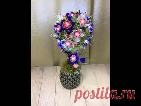 Мини МК Топиарий-светильник) Цветы из капрона
