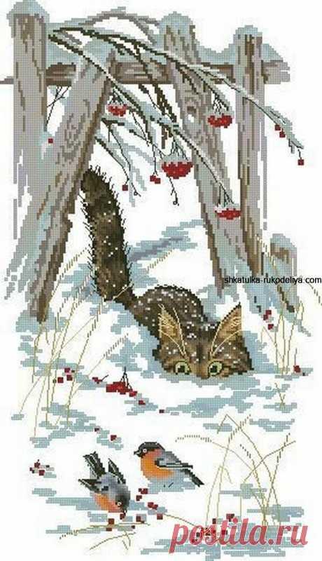Вышивка крестиком-Приключения Кота Василия Вышивка крестиком-Приключения Кота Василия. Бесплатная схема вышивки кота крестиком