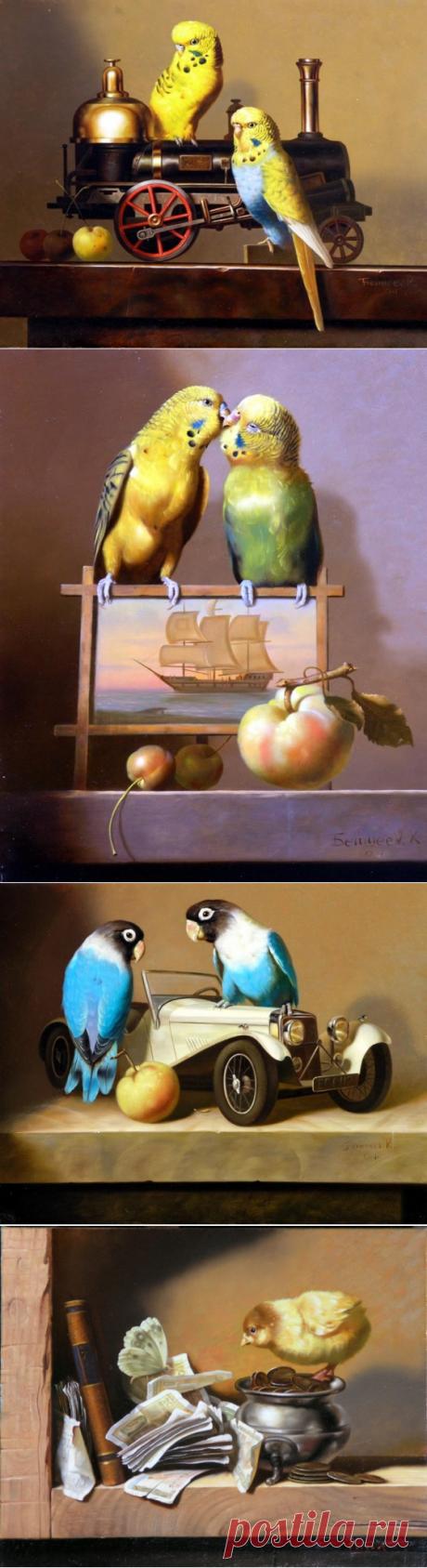 Попугайчики и натюрморты. Baxter, Alexander.