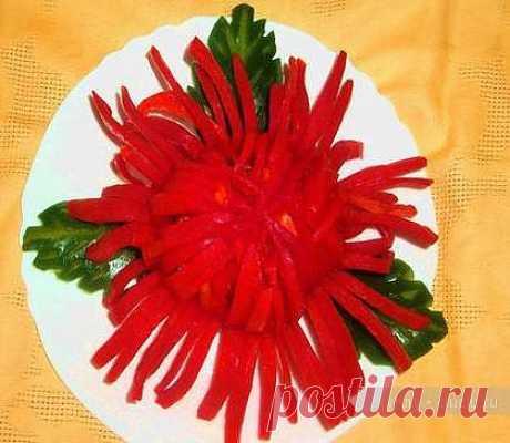 Карвинг для начинающих. Хризантема из сладкого перца / Карвинг из овощей и фруктов - фото, видео для начинающих / КлуКлу. Рукоделие - бисероплетение, квиллинг, вышивка крестом, вязание
