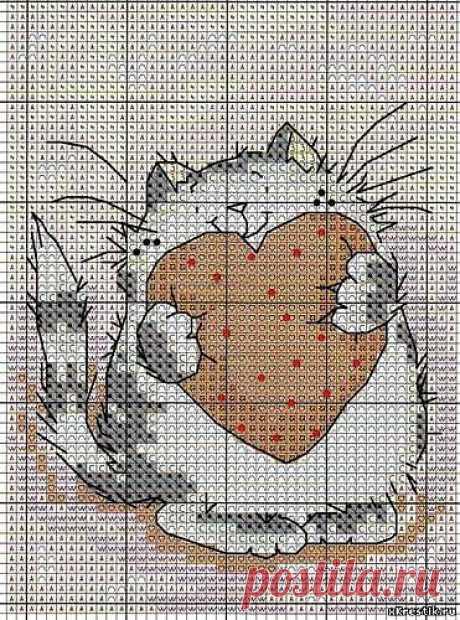 Схема для вышивки крестом: Кот с сердечком - Животные - Каталог статей - Бесплатные схемы для вышивки крестом