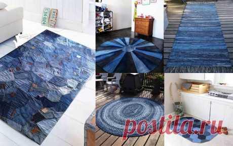 Стильные ковры из старых джинсов на все случаи жизни - идеи