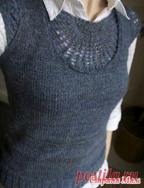 Топ или жилет спицами с ажурным мотивом - Вязание - Страна Мам