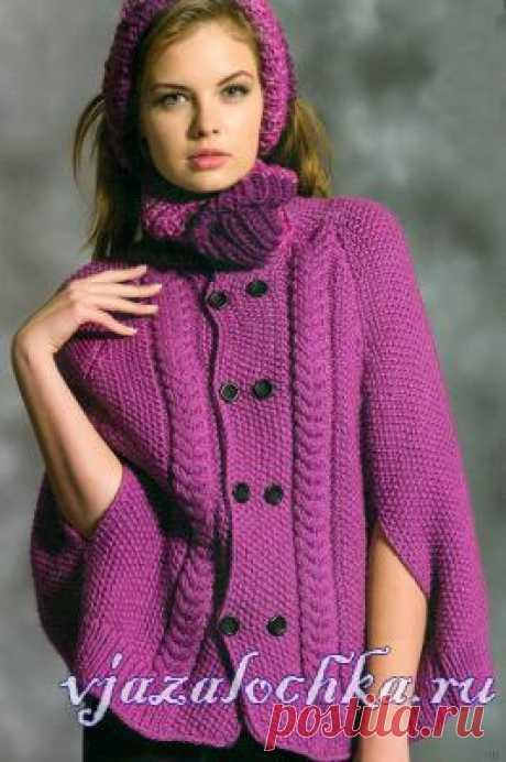 Пальто – пончо спицами в розовом цвете