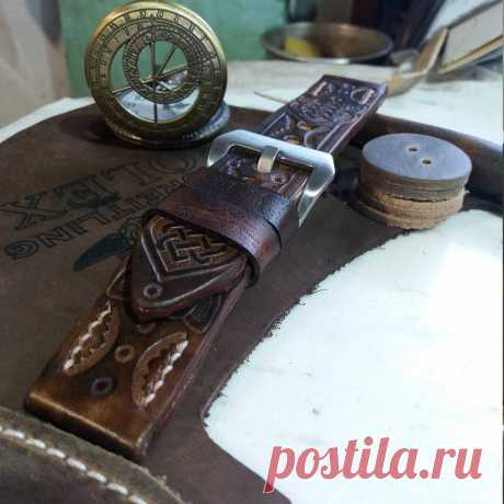 Brown Leather Watch Strap Horween for Men – GORIANI
