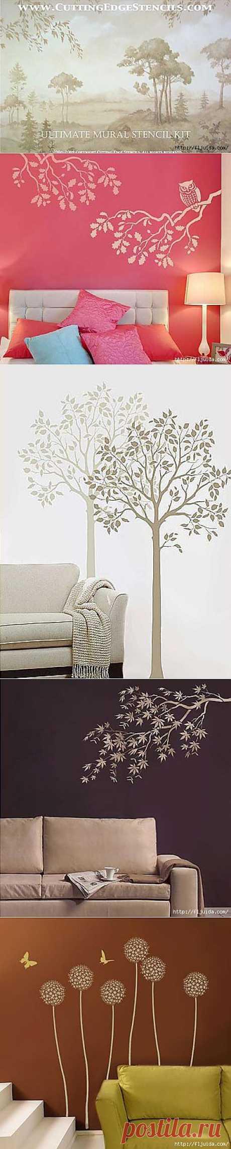 3 часть. Шикарные цветочные трафареты для оформления стен и декора!!.