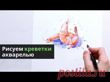 Поэтапный акварельный урок — kalachevaschool.ru — Рисуем креветки 🦐 🦐