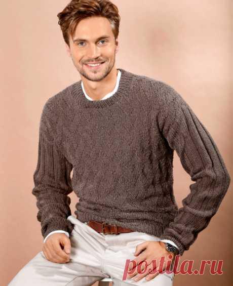 Классический мужской пуловер спицами - Портал рукоделия и моды
