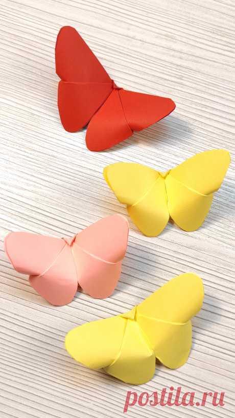 Бабочка 🦋 из бумаги без клея! Оригами своими руками 🦋 Подробный Видео Урок Оригами для начинающих.