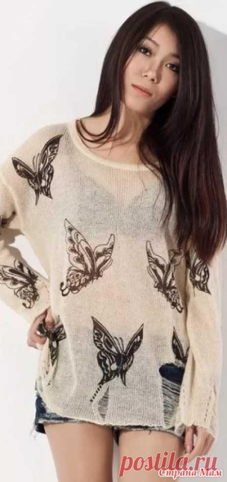"""Идея для летнего джемпера с узором """"бабочки"""" спицами. Готовимся к лету! Бабочки на подобном джемпере можно вывязать, а можно вышить. https://woman7.ru/"""