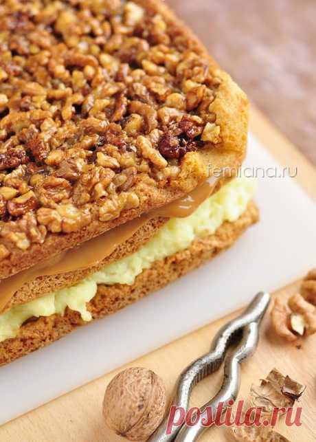 Простой и вкусный торт с грецкими орехами, заварным кремом и вареной сгущенкой | FEMIANA