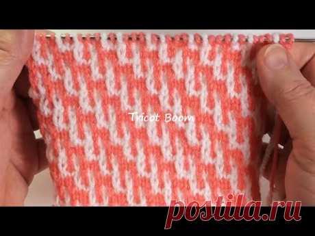Цветной узор для зимней одежды / Ленивый жаккард / Groove and Tongue Stitch.