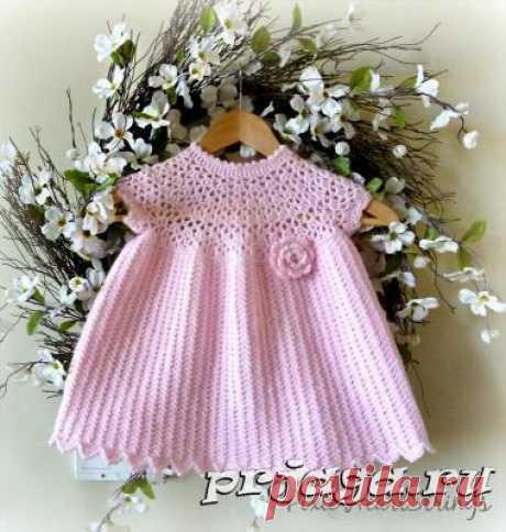 Розовой платье для малышки крючком