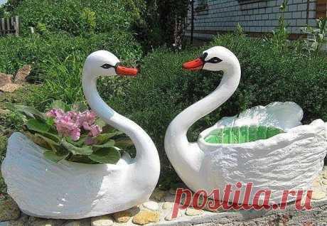 Создаем лебедя для сада