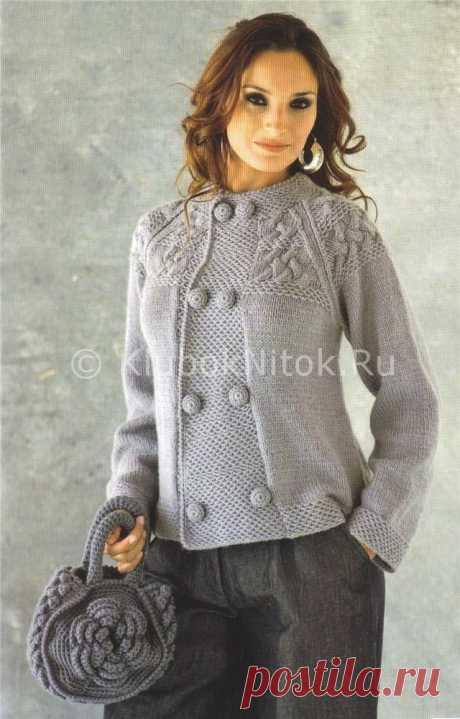 Серый двубортный жакет | Вязание для женщин | Вязание спицами и крючком. Схемы вязания.