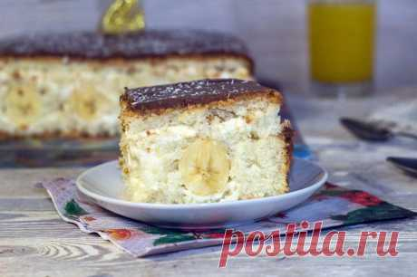 Banana biscuit cake the recipe with a photo step by step and video - 1000.menu