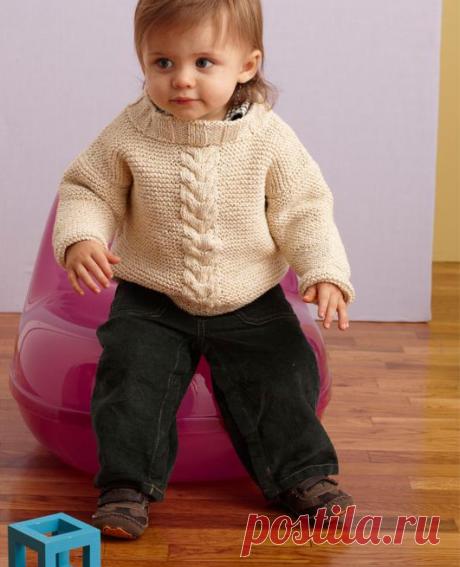 Пуловер спицами для мальчика.