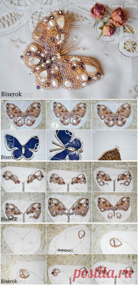 Брошь «Жемчужная бабочка» — Сделай сам, идеи для творчества - DIY Ideas