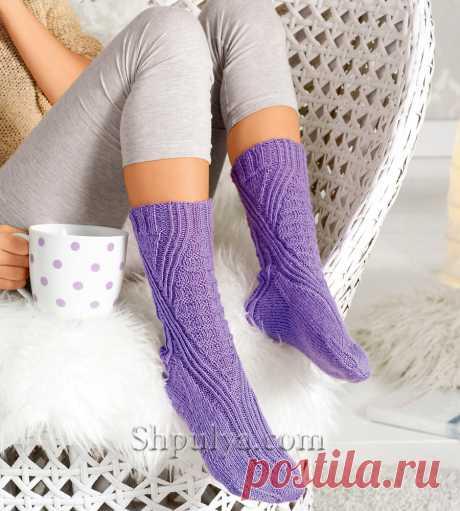 Сиреневые носки со структурным узором — Shpulya.com - схемы с описанием для вязания спицами и крючком