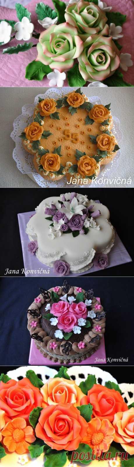 Розы из марципана для украшения тортов.