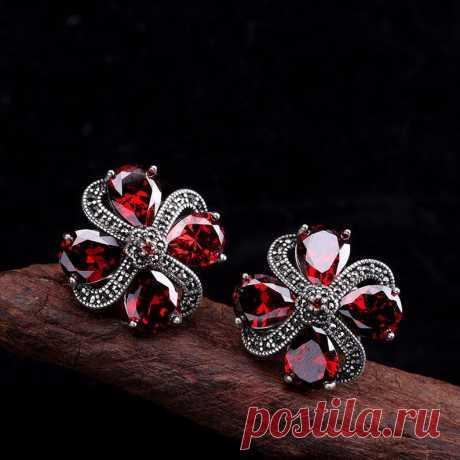 Plum garnet earrings vintage-garnet earrings stud raw garnet | Etsy