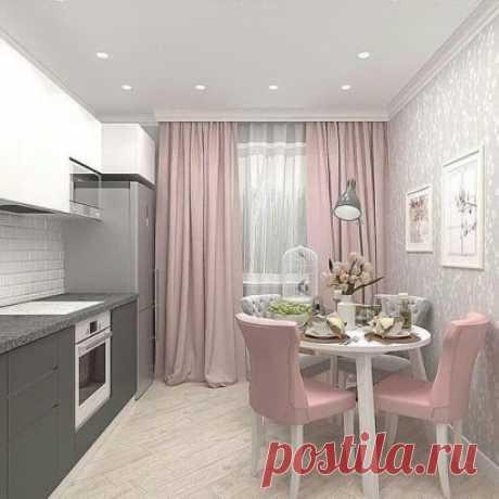 Нежная розовая кухня. Нравится или выбрали бы другое цветовое решение? 🤔