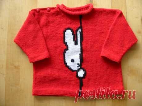 Жаккардовый узор зайчика для детского пуловера