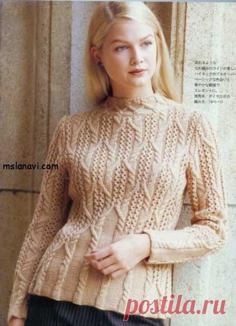 Вязаный пуловер спицами с аранами - Вяжем с Лана Ви Красивый вязаный пуловер спицами с аранами. Мне лично очень нравится. В любую прохладу будет кстати, даже летом. Конечно, многое зависит от состава пряжи, поэтому нужно принять во внимание, когда будете вязать. На этот вязаный пуловер уйдет около 500 гр пряжи, спицы № 3. Плотность вязания 10 см = 24 петли х 30 рядов. Как читать […]
