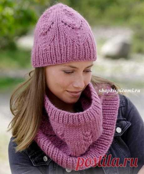 Вязание теплого комплекта из шапки и снуда для женщин от Дропс. С описанием и схемами.