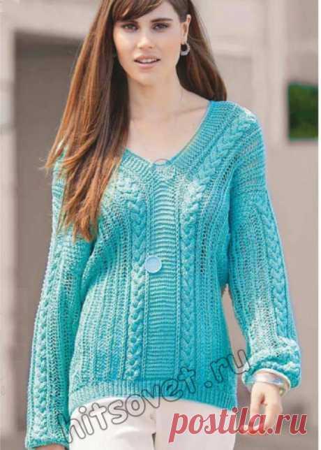 Модный узорчатый пуловер с V-образным вырезом - Хитсовет