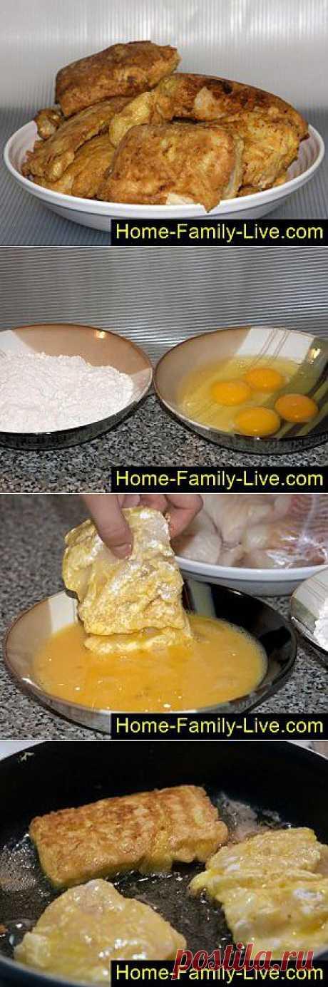 Жареный минтай - пошаговый фоторецепт - рыба в кляре   Кулинарные рецепты