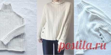 Женский свитер Sea sweater Женский свитер свободного фасона со спущенной линией плеча, вязаный спицами сверху вниз, начиная с воротника, с описанием.