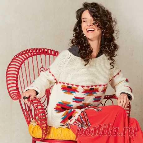 Свободный джемпер в этно-стиле - схема вязания спицами. Вяжем Джемперы на Verena.ru