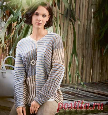 Пуловер в полоску в нейтральных тонах - схема вязания спицами. Вяжем Пуловеры на Verena.ru