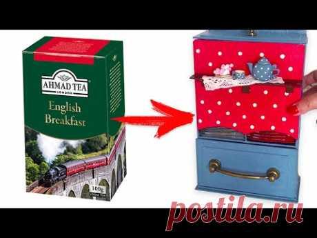 DIY Переделка чайной коробки в чайный домик | Простая идея из картона