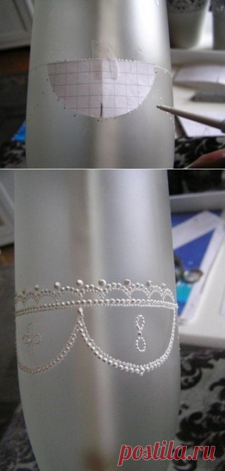 Бутылка в технике точечной росписи — Сделай сам, идеи для творчества - DIY Ideas