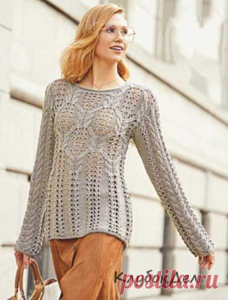 Серый пуловер с узором из «кос» Фантазия из «кос» и ажура – самое красивое в нашем удлиненном пуловере. Если выбрать пряжу потолще, узоры получатся еще выразительнее.Размеры: 36/38 (42/44)Вам потребуется: пряжа (100% хлопка; 70 м/50 г) – 750 (850) г серой; спицы № 4,5 и 5; круговые спицы № 4,5.Узор 1: ажурный узор (число петель