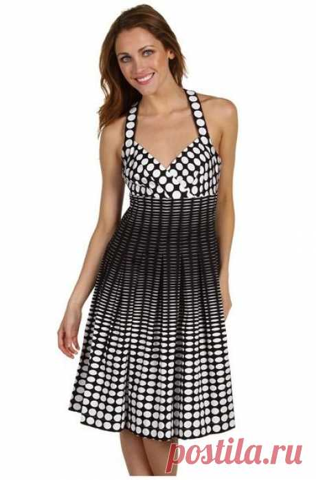 Модные фасоны платьев в горох. Модное платье в красный, белый, черный, синий горошек