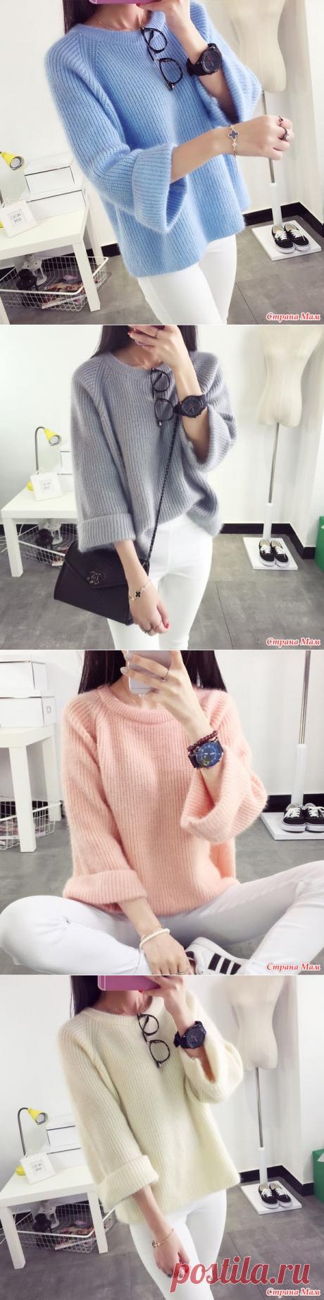 !!!  Мохеровый пуловер жемчужной резинкой