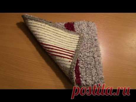 Вязание коврика на резиновой основе  Часть 2 из 6