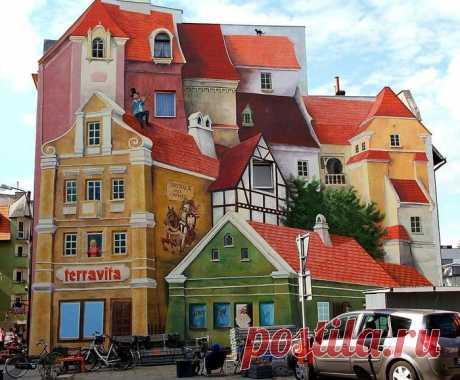 """ulyssa on Twitter: """"Невероятное, фантастическое граффити на абсолютно плоской стене дома в Познани."""