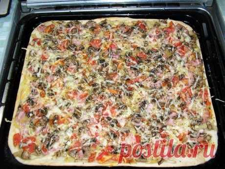How to make pizza with the thin crackling basis in 20 minutes. Ingredients: Dough: - 2 spoons of sour cream, - 100-150 g of kefir... The recipe-book - my Mir@mail.ru