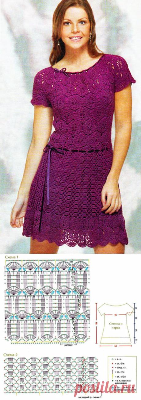 Фиолетовое кружевное платье из двух интересных узоров крючком – схемы с описанием вязания