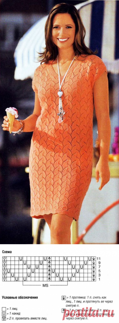 Элегантное платье Алтезза оранжевого цвета спицами – схема вязания с описанием